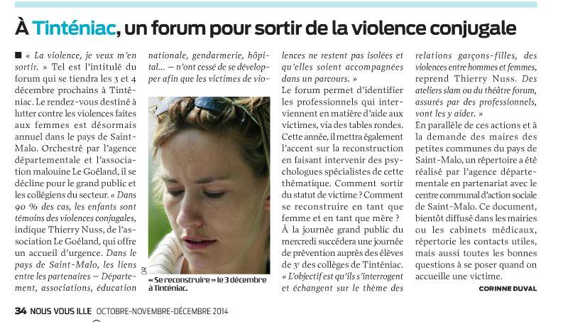 Article nous vous ille a tinteniac un forum pour sortir de la violence conjugale